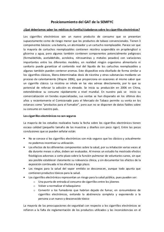 Posicionamiento del GAT de la SEMFYC ¿Qué deberíamos saber los médicos de familia/ciudadanos sobre los cigarrillos electró...