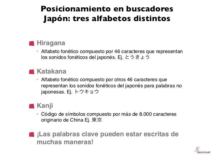 Posicionamiento en buscadores  Japón: tres alfabetos distintosHiragana• Alfabeto fonético compuesto por 46 caracteres que ...