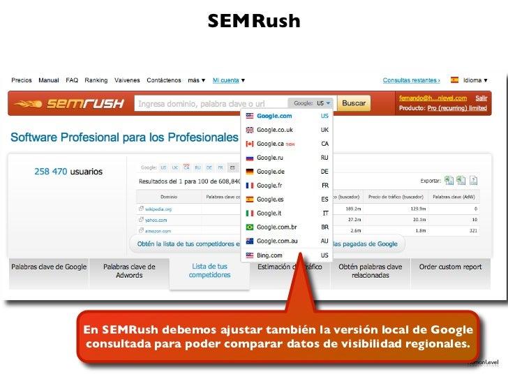 SEMRushEn SEMRush debemos ajustar también la versión local de Googleconsultada para poder comparar datos de visibilidad re...