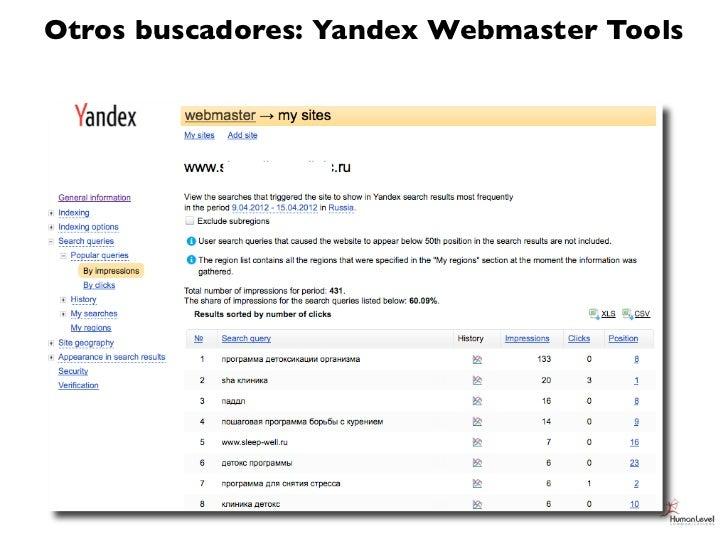 Otros buscadores: Yandex Webmaster Tools