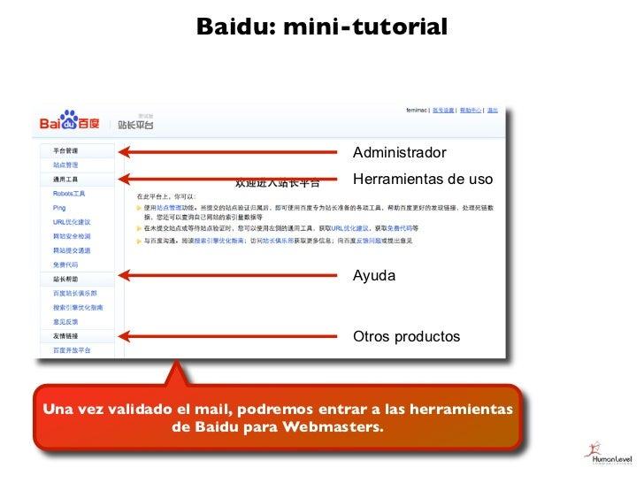 Baidu: mini-tutorial                                       Administrador                                       Herramienta...