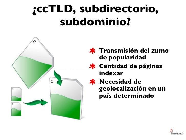 ¿ccTLD, subdirectorio,    subdominio?           Transmisión del zumo           de popularidad           Cantidad de página...