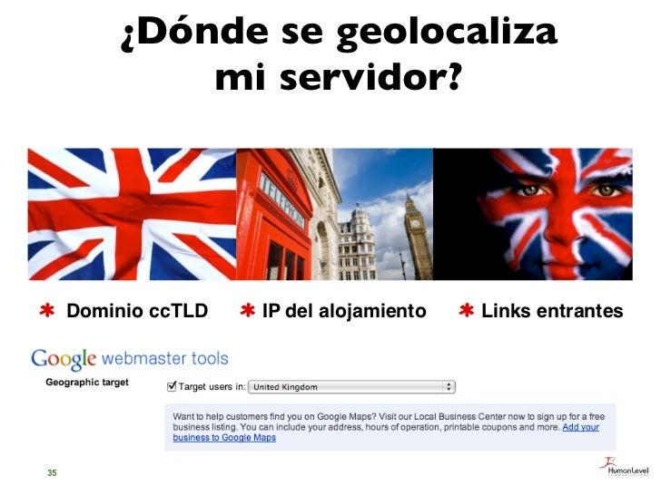 ¿Dónde se geolocaliza             mi servidor?     Dominio ccTLD   IP del alojamiento   Links entrantes35