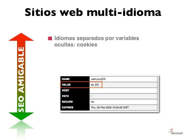 Sitios web multi-idioma               Idiomas separados por variables               ocultas: cookiesSEO AMIGABLE