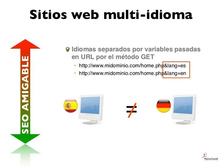 Sitios web multi-idioma               Idiomas separados por variables pasadas               en URL por el método GETSEO AM...