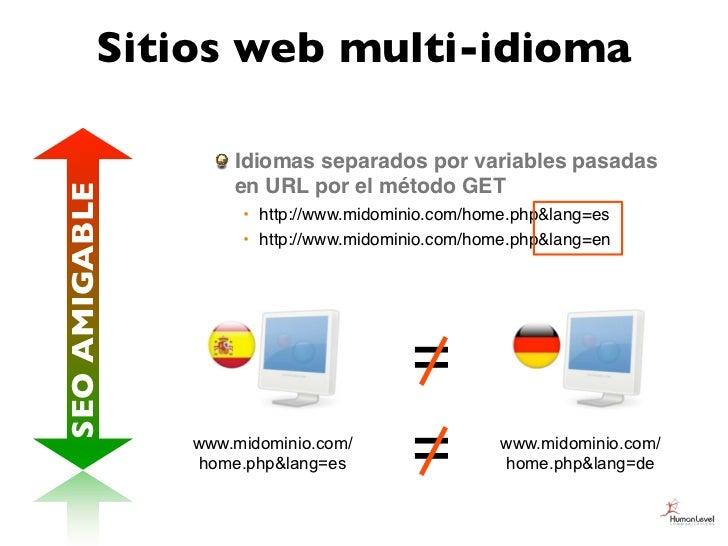 Sitios web multi-idioma                   Idiomas separados por variables pasadas                   en URL por el método G...