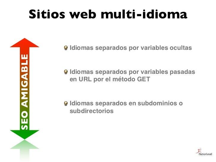 Sitios web multi-idioma               Idiomas separados por variables ocultasSEO AMIGABLE               Idiomas separados ...