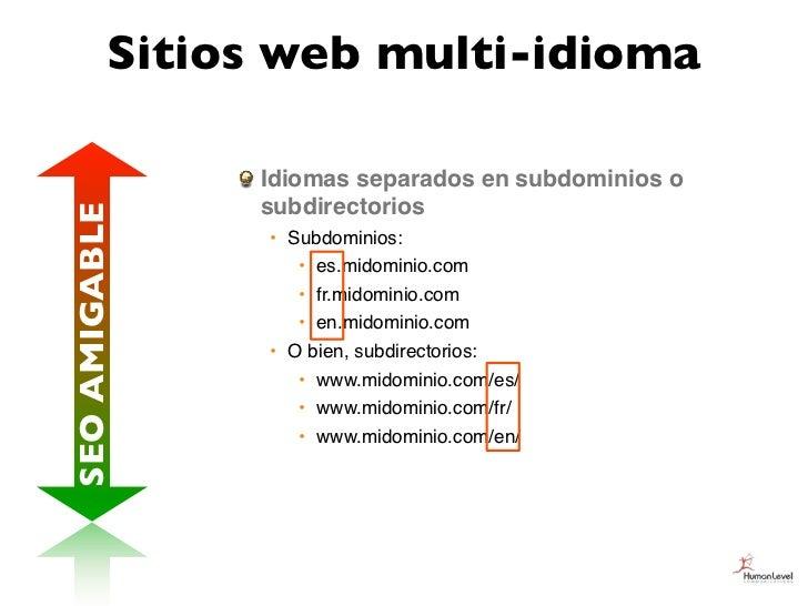 Sitios web multi-idioma               Idiomas separados en subdominios o               subdirectoriosSEO AMIGABLE         ...