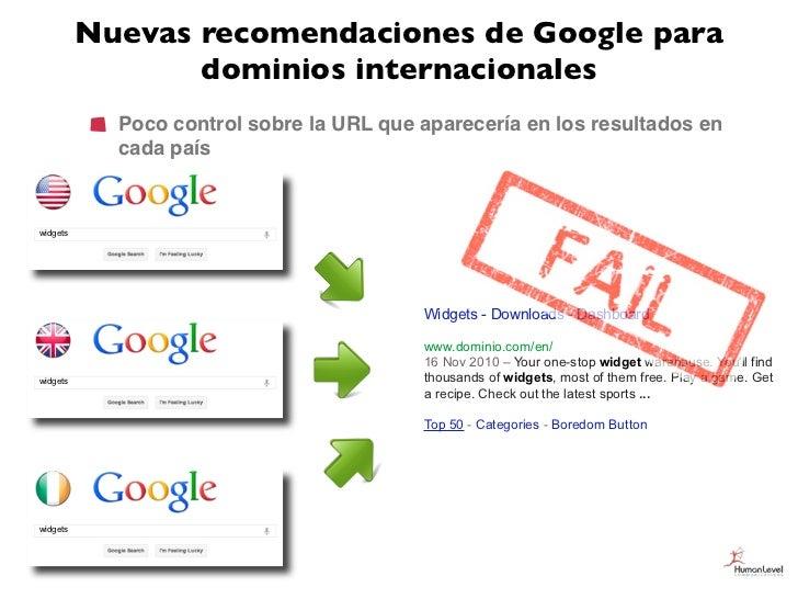 Nuevas recomendaciones de Google para                 dominios internacionales            Poco control sobre la URL que ap...