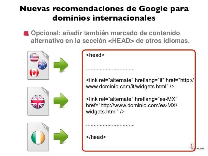 Nuevas recomendaciones de Google para       dominios internacionales  Opcional: añadir también marcado de contenido  alter...