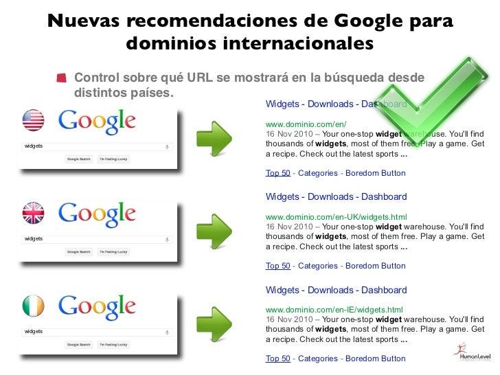 Nuevas recomendaciones de Google para                 dominios internacionales            Control sobre qué URL se mostrar...
