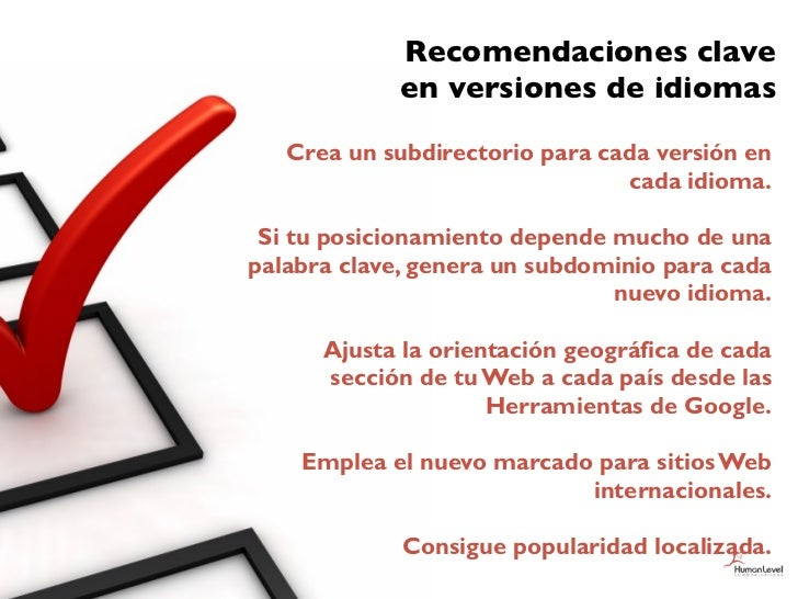Recomendaciones clave             en versiones de idiomas   Crea un subdirectorio para cada versión en                    ...