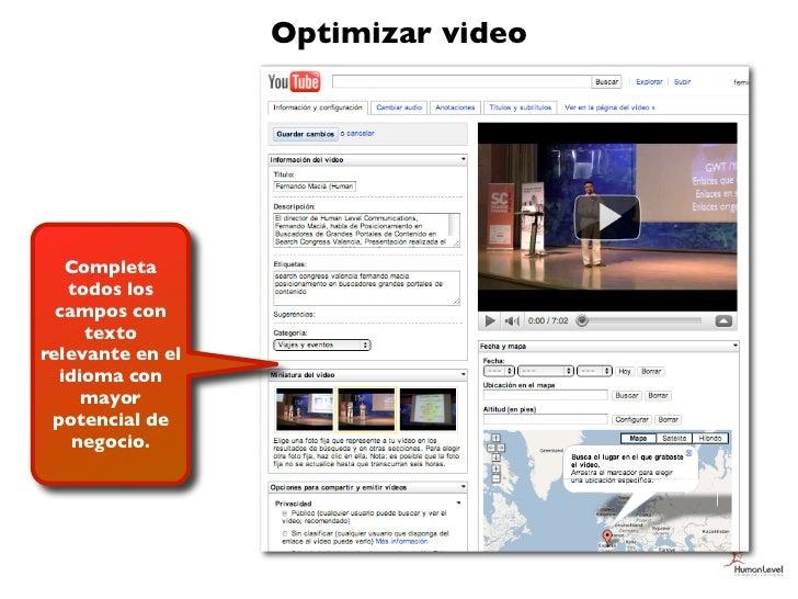 Optimizar video   Completa   todos los  campos con     textorelevante en el  idioma con     mayor potencial de    negocio.
