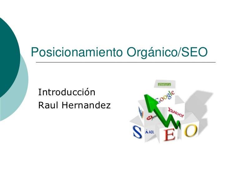 PosicionamientoOrgánico/SEO<br />Introducción<br />Raul Hernandez<br />