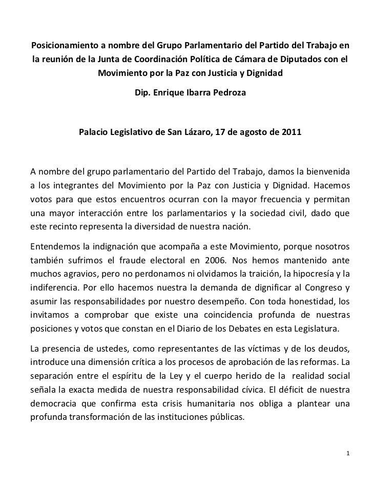Posicionamiento a nombre del Grupo Parlamentario del Partido del Trabajo enla reunión de la Junta de Coordinación Política...