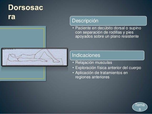 Descripción • Paciente en decúbito dorsal o supino con separación de rodillas y pies apoyados sobre un plano resistente In...