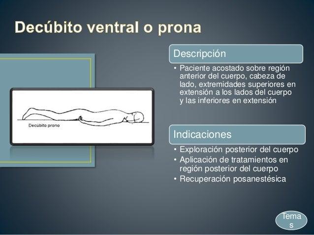 Descripción • Paciente acostado sobre región anterior del cuerpo, cabeza de lado, extremidades superiores en extensión a l...
