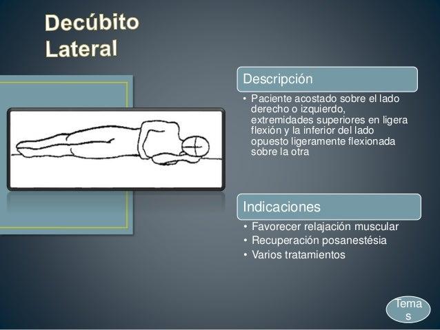Descripción • Paciente acostado sobre el lado derecho o izquierdo, extremidades superiores en ligera flexión y la inferior...