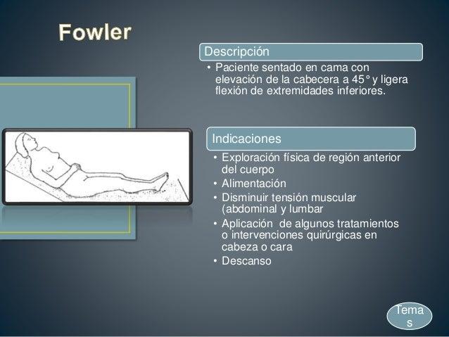 Descripción • Paciente sentado en cama con elevación de la cabecera a 45° y ligera flexión de extremidades inferiores. Ind...