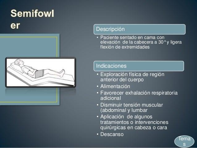 Descripción • Paciente sentado en cama con elevación de la cabecera a 30° y ligera flexión de extremidades Indicaciones • ...