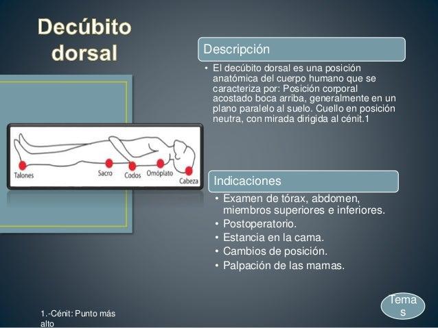 Descripción • El decúbito dorsal es una posición anatómica del cuerpo humano que se caracteriza por: Posición corporal aco...