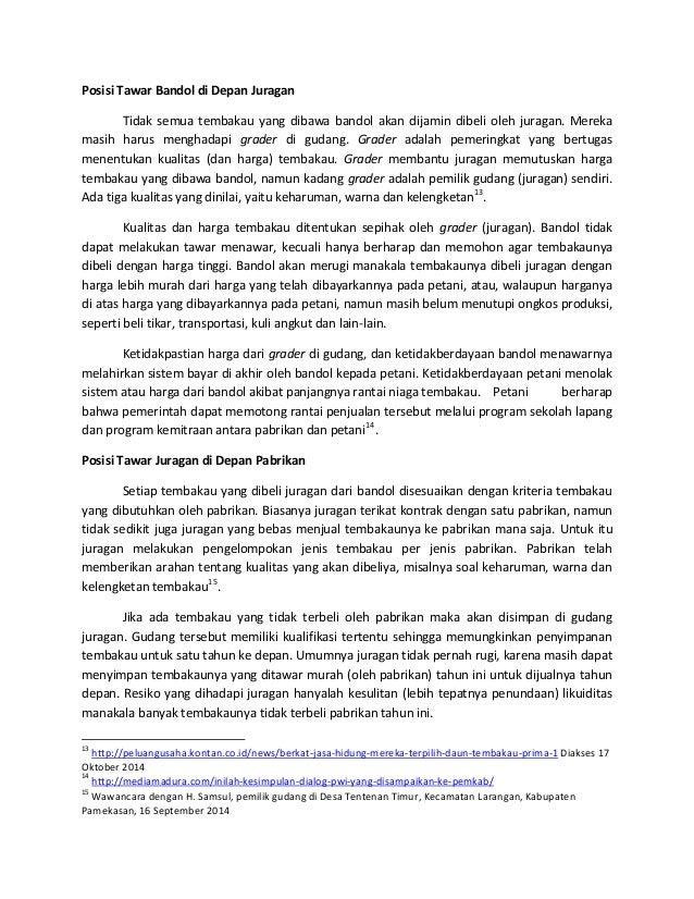 Posisi Tawar Petani Dalam Tataniaga Tembakau