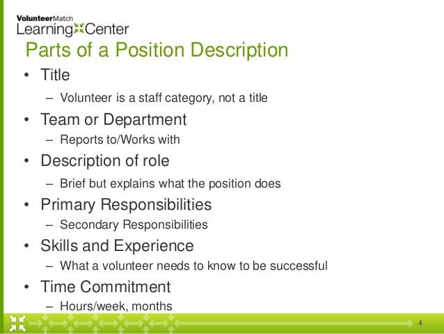 Writing Accurate and Useful Position Descriptions