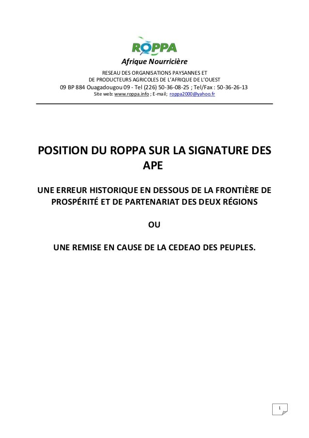 1 Afrique Nourricière RESEAU DES ORGANISATIONS PAYSANNES ET DE PRODUCTEURS AGRICOLES DE L'AFRIQUE DE L'OUEST 09 BP 884 Oua...