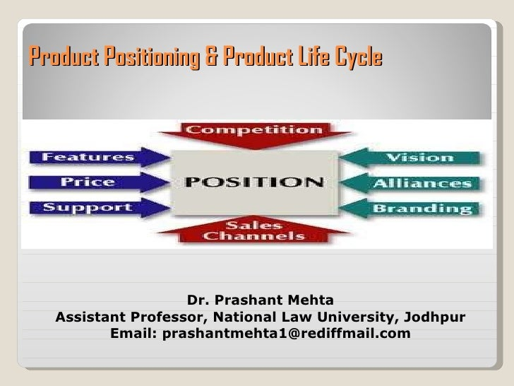 Product Positioning & Product Life Cycle  Dr. Prashant Mehta Assistant Professor, National Law University, Jodhpur Email: ...