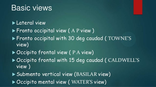 Basic views  Lateral view  Fronto occipital view ( A P view )  Fronto occipital with 30 deg caudad ( TOWNE'S view)  Oc...