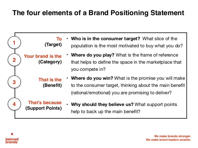 positioning of brands and analysis of positioning statement Using data from the competitor analysis, competitor position analysis, and the compare and contrast section of this guide, you should be able to evaluate each draft of the market positioning statement and rate them against these criteria.