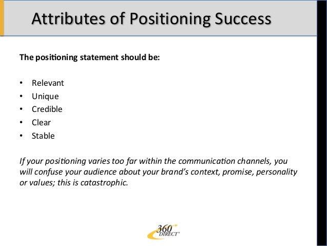 Positioning Statement Debriefed: