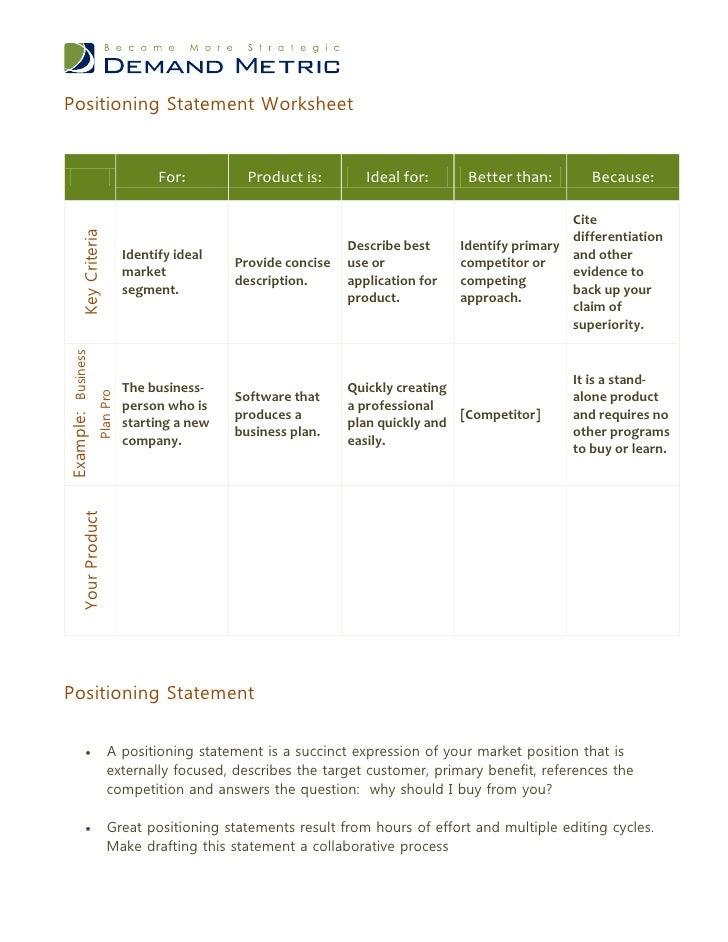 positioning statement worksheet. Black Bedroom Furniture Sets. Home Design Ideas