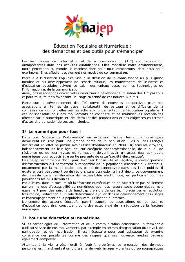 1 Éducation Populaire et Numérique : des démarches et des outils pour s'émanciper Les technologies de l'information et de ...