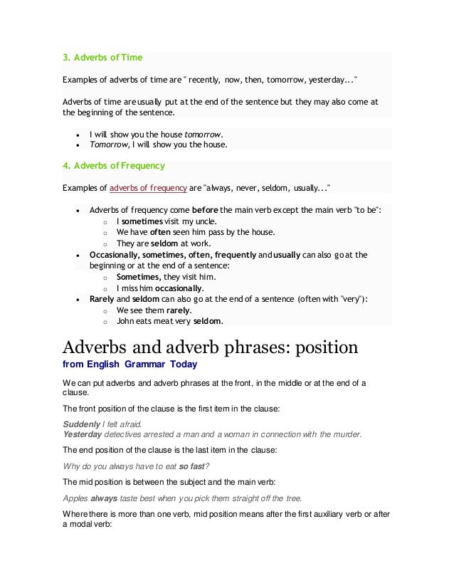 Position Of Adverbs In English Sentences And Fronting