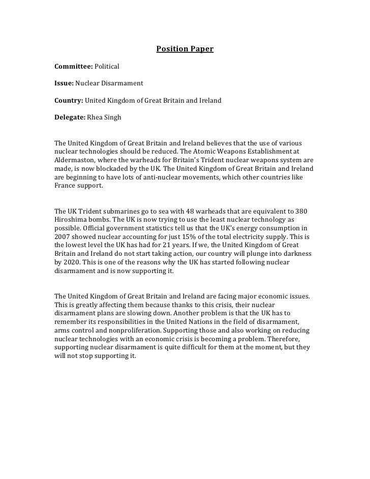 Attirant Position Paperu003cbr /u003eCommittee: Politicalu003cbr /u003eIssue: Nuclear