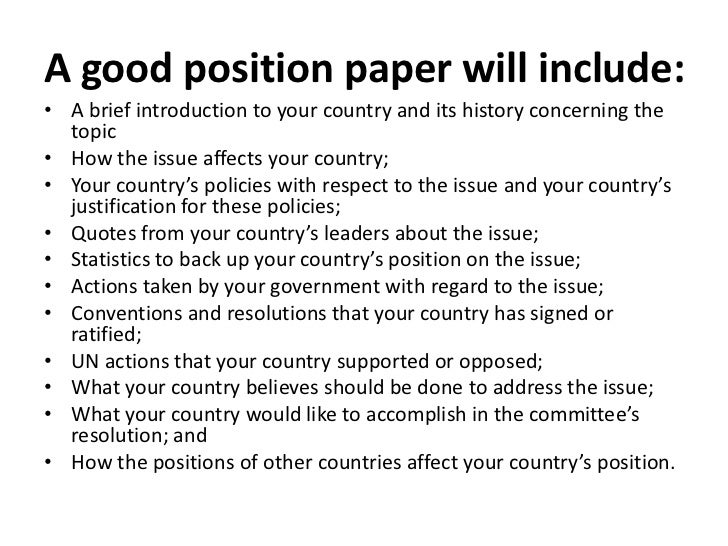 example of position paper Sample position paper committee: security council topic area a: former yugoslavia country: ghana delegate: mr kofi annan ghana strongly believes that.