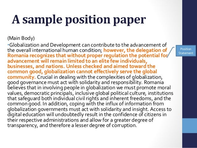 what is position paper format