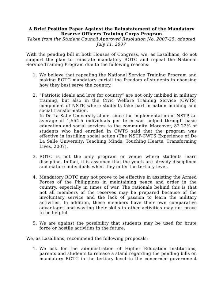 A Brief Position Paper Against the Reinstatement of the Mandatory                Reserve Officers Training Corps Program T...