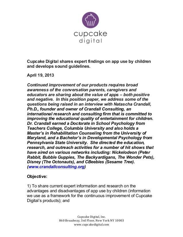 Cupcake Digital, Inc. 860 Broadway, 3rd Floor, New York NY 10003 www.cupcakedigital.com Cupcak...