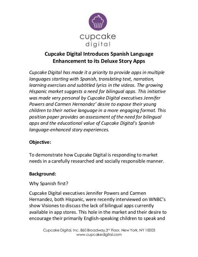 Cupcake Digital, Inc. 860 Broadway,3rd Floor, New York, NY 10003www.cupcakedigital.comCupcake Digital Introduces Spanish L...
