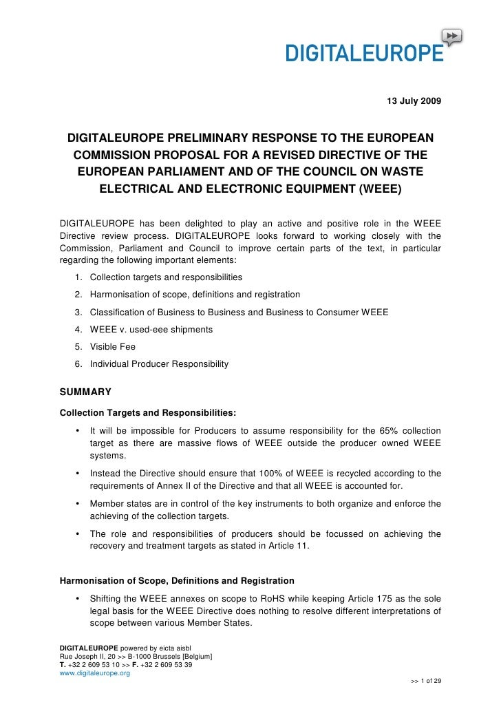 13 July 2009      DIGITALEUROPE PRELIMINARY RESPONSE TO THE EUROPEAN    COMMISSION PROPOSAL FOR A REVISED DIRECTIVE OF THE...