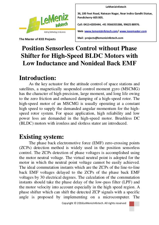 Position sensorless control without phase shifter for high speed bldc…