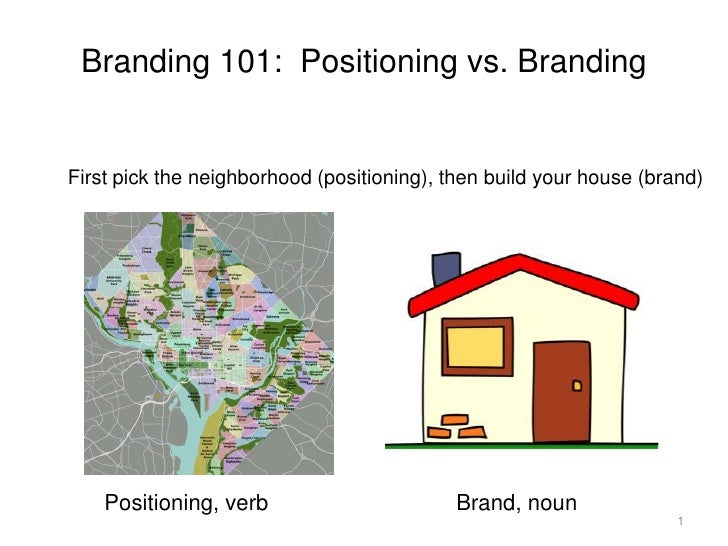 1<br />Branding 101:Positioning vs. Branding<br />First pick the neighborhood (positioning), then build your house (brand)...