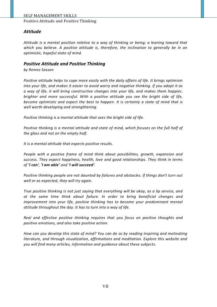 Positive attitude in life essay