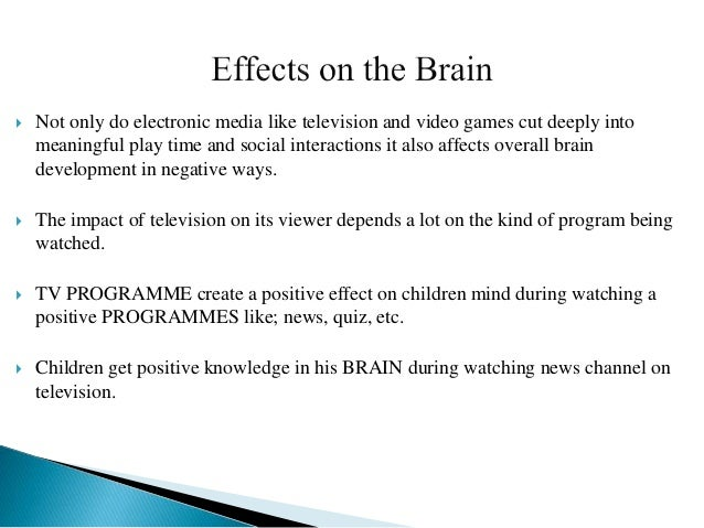 bad effects of television on children essay Essay on television and media violence - effects of tv violence on children - effects of television violence on children television is the mainstream of our culture violence on television has been a topic of conflict since before 1950.