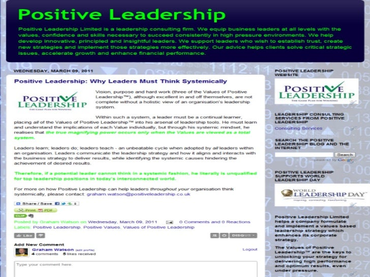 Positive Leadership Why Leaders Must Think Systemically