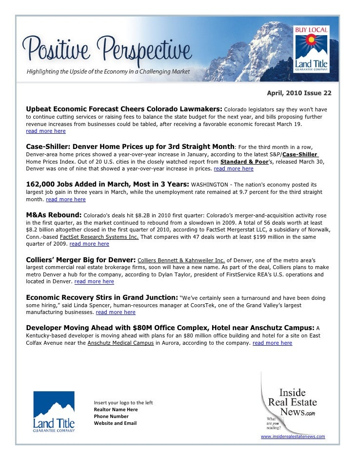 April, 2010 Issue 22  Upbeat Economic Forecast Cheers Colorado Lawmakers: Colorado legislators say they won't have to cont...