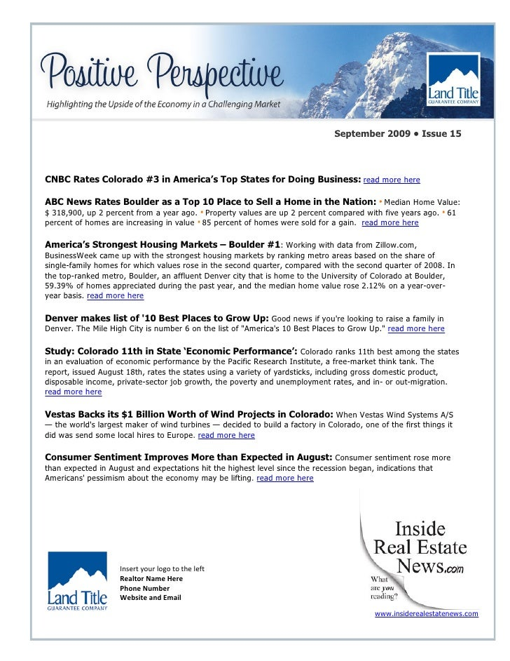 September 2009 • Issue 15    CNBC Rates Colorado #3 in America's Top States for Doing Business: read more here  ABC News R...