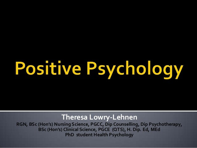 positive psychology essay Read ted studies psychology introductory essay unfortunately, positive psychology is often mistaken for positive thinking movement.